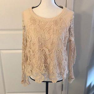 Small Free People Crochet Long Sleeve Sweater